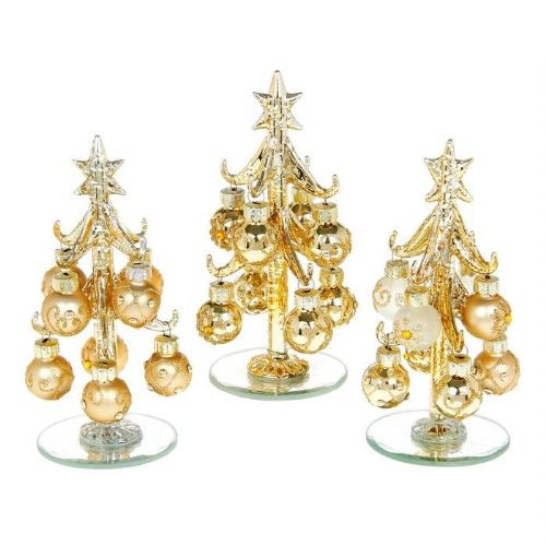 Small Classic Gold Glass Christmas Trees with Gold Jewelled Baubles